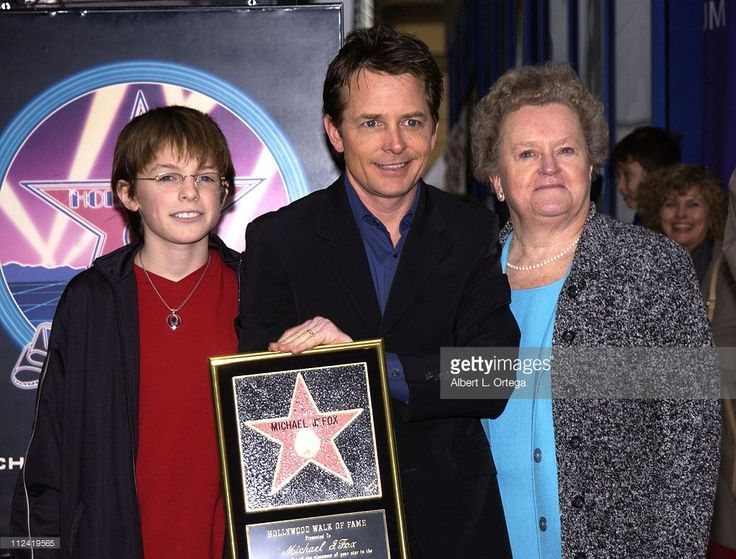 Michael J. Fox with son Sam and mom Phyllis during Michael J. Fox Honored with a Star on the Hollywood Walk of Fame for His Achievements in Film at Hollywood Boulevard in Hollywood, California, United States.