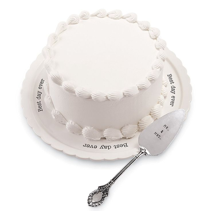 """Mud Pie Wedding Cake Plate Set, White with text that says """"Best day Ever"""" and server"""