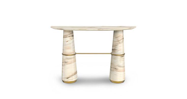 AGRA Marble Console by Brabbu | Modern Console Table Modern Contemporary Design. Find more: https://www.brabbu.com/en/casegoods/agra-console/