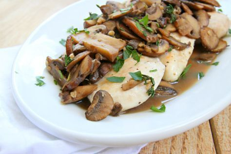 Easy recipe for Chicken Cutlets with Mushroom Wine Sauce. Nutritional information and Weight Watchers Points included.