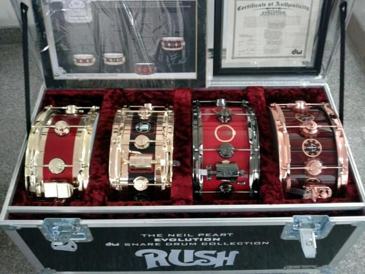 Neil Peart's snare drum Evolution kit - (left to right) Vapor Trails/Test for Echo tour, R30 tour, Snakes and Arrows tour, and Time Machine tour