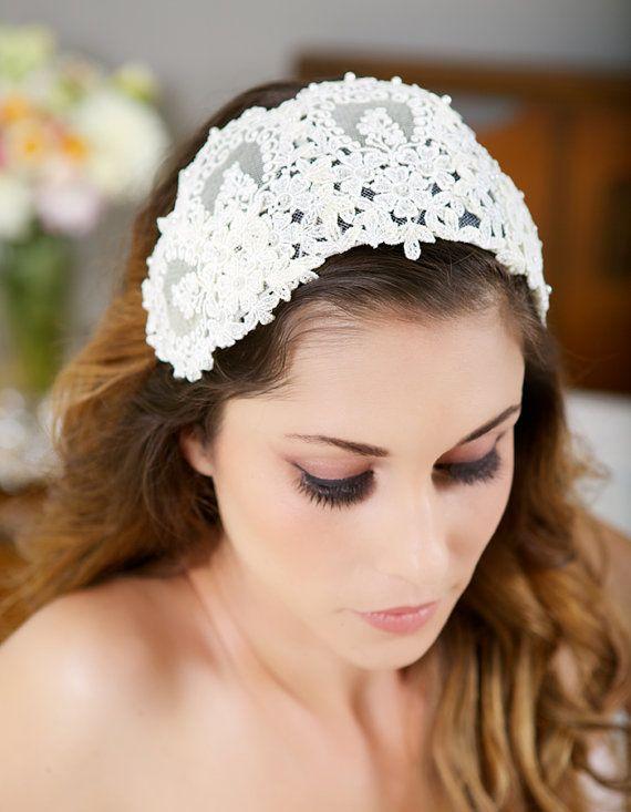 dark ivory lace cap ivory headpiece vintage lace headband lace crown ivory veil cap wedding headpiece princess grace style 025