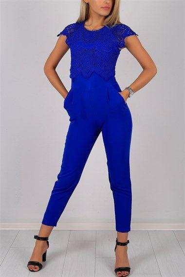 Dantel Detaylı Mavi Bayan Tulum 5566B