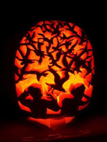 pumpkin carving contest alfred hitchcock the birds movie