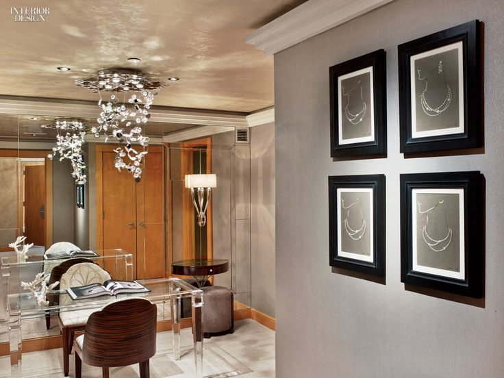 In its boudoir, a custom acrylic table is used to present jewelry for sale. Photography by Eric Laignel.