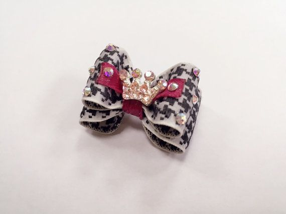 The price is for 1 item. We have special prices for wholesale. This beautiful Dog hair bows with SWAROVSKI CRYSTALS will be perfect for your pet.   Get ready that your pet will appear in the center of everyone's attention! —————————————————————  ITEM DESCRIPTION:   ♥ Unique handmade product. Made in Ukraine. ♥ Materials : ribbons/ french barrette, swarovski crystals ♥ All bows are sewn together.  ♥ All bows come with 2 GROOMER BANDS sewn on or FRENCH CLIP (french barrette)  ♥ Can be made...