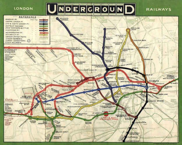 This is how the Tube map used to look, in 1908, when they used to show where the Tube lines actually went.