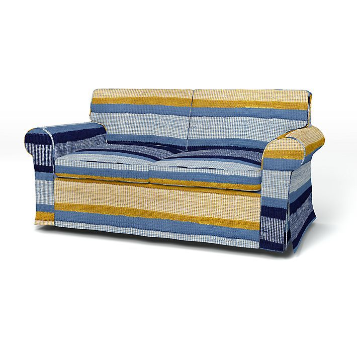Ektorp, Sofa Covers, 2 Seater, Regular Fit using the fabric Urquhart  Light Denim Blue