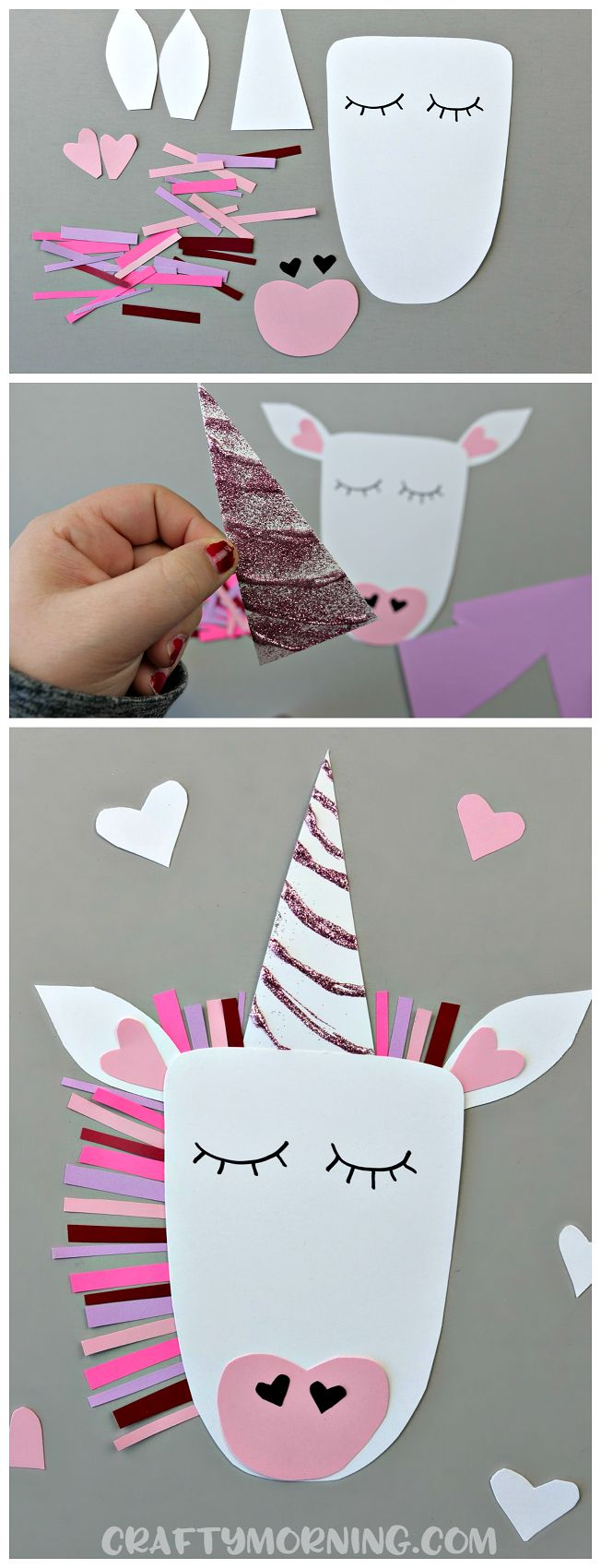 Make a unicorn valentine's day craft with your kids! Cute heart shaped animal art project to make!