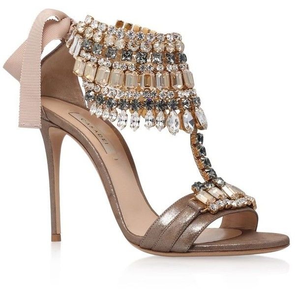 Casadei Sweetpea Jewelled Sandals | Harrods found on Polyvore featuring shoes, sandals, heels, jeweled sandals, jeweled shoes, jewel sandals, casadei and heeled sandals