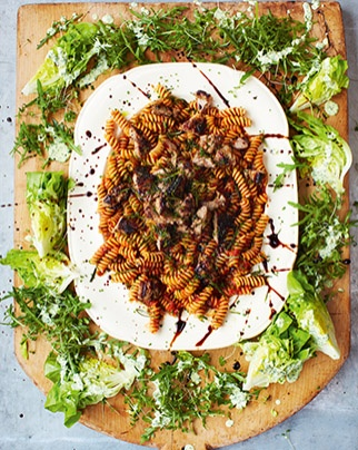 Sausage fusilli with creamy garden salad.  Meals in 15 minutes from Jamie Oliver