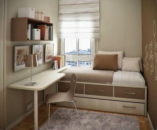 Bett mit Ablage – kreative Idee für kleine Räume