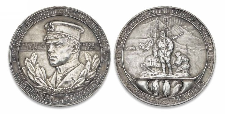 A medal awarded to Sir Ernest Shackleton - Royal Geographical Society Silver Medal, 1904