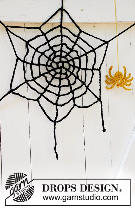 Crocheted Spider And Spiders Web In Drops Paris Theme Halloween