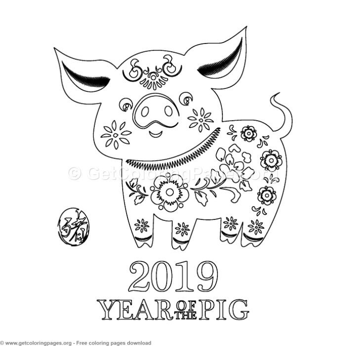 3 Year Of The Pig Coloring Pages With Images Coloring Pages