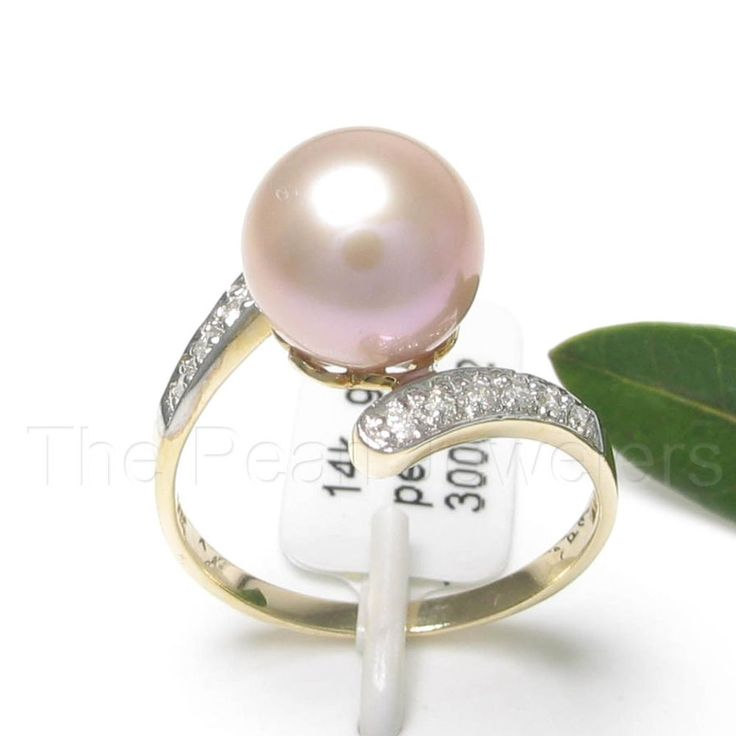 14k Yellow Gold AAA 8.5-9mm Pink Cultured Pearl & Diamond Cocktail Ring TPJ…