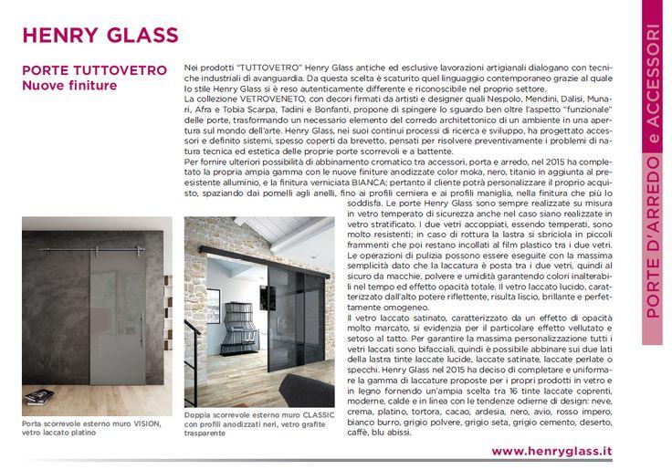 Servizio redazionale dedicato alle nuove finiture 2015 Henry glass all'interno di GDS - Giornale del serramento di Luglio 2015.