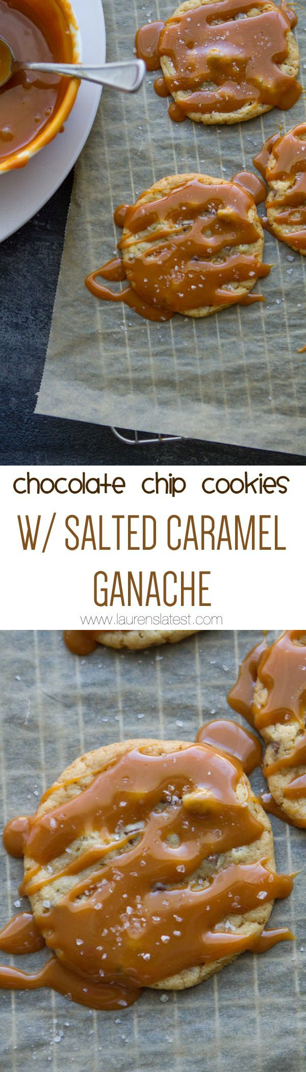 Chocolate Chip Cookies with Salted Caramel Ganache... You will DIE at how outrageously delicious these little nuggets are!