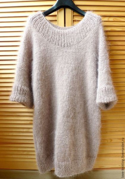 Купить или заказать Платье-свитер КОФЕ С МОЛОКОМ в интернет-магазине на Ярмарке Мастеров. Платье-свитер из двух видов пряжи (шерсть+мохер), связан на заказ. Выполню на заказ из пряжи любого цвета и на любой размер. Размер данного свитера 42-44 (oversize). Длина 90 см, рукав 3/4. Цена указана за работу с пряжей.