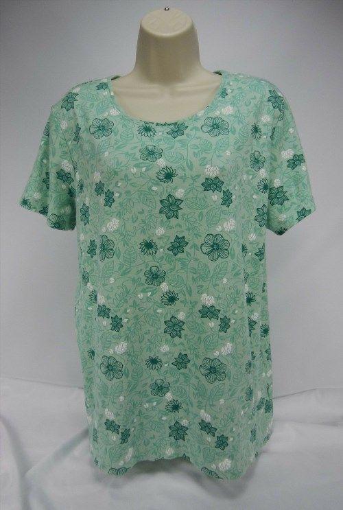 13.85$  Buy now - http://viwua.justgood.pw/vig/item.php?t=xh65c036734 - CC Hughes Green Floral Stretch Knit T-Shirt Top 1X