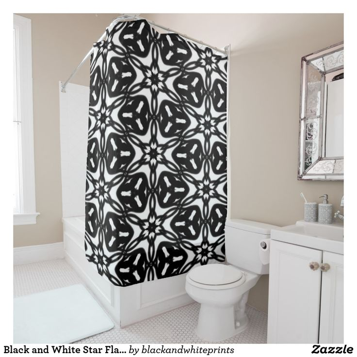 Black and White Star Flakes 9867  Shower Curtain