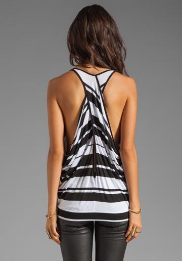 BLUE LIFE Turn Around Tank in Black/White Stripe.