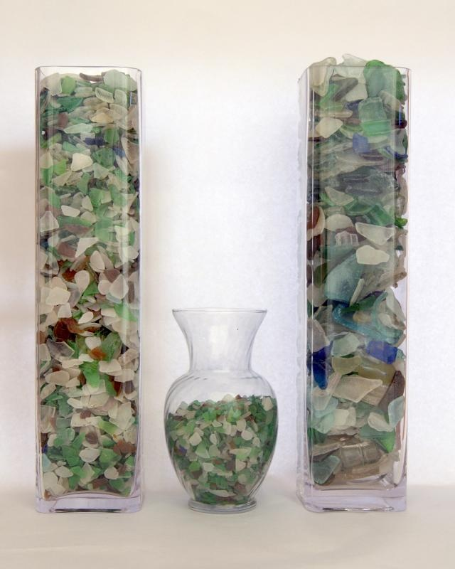 Sea glass shown here, works just as well with tumbled glass I would think.