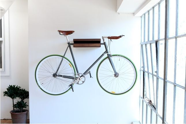 10 Ways To Hang Your Bike On The Wall Like A Work Of Art  http://www.treehugger.com/slideshows/interior-design/10-ways-hang-your-bike-wall-work-art/