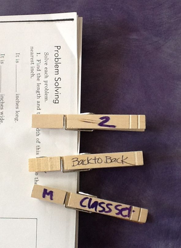 Copy Clothespins~  Easy way to label sets of papers that need to be copied.
