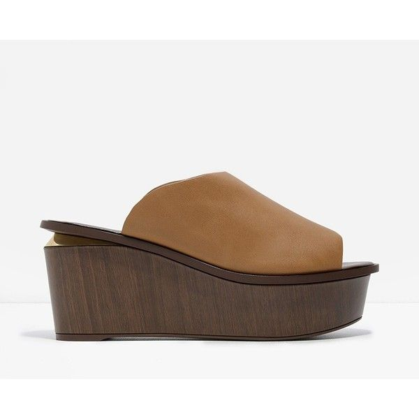 I got you ✅ CHARLES & KEITH Platform Mules (51 CAD) ❤ liked on Polyvore featuring shoes, beige, beige shoes, platform mules, charles keith shoes, wooden platform shoes and open toe mules shoes