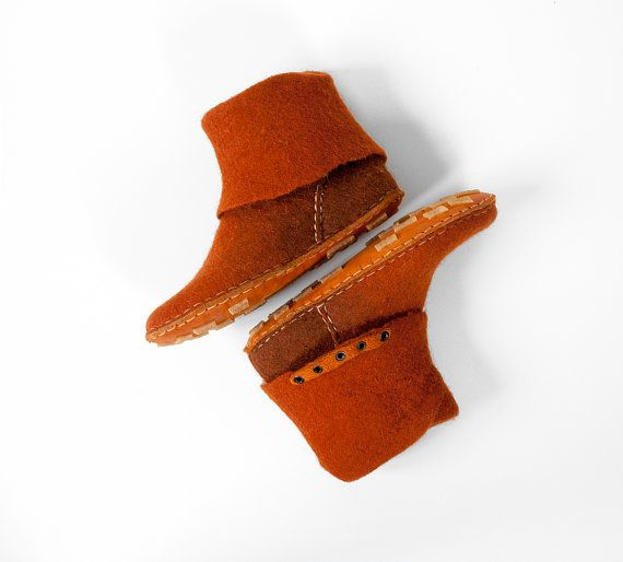 One-of-a-kind handmade felted wool leather by BureBureSlippers