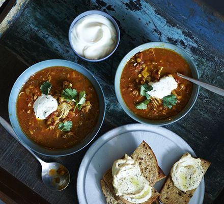 Moroccan harira & chicken soup: This North African-inspired soup is flavoured with harissa and spices such as cumin, coriander, cinnamon and turmeric. Serve with houmous toasts and cooling yogurt