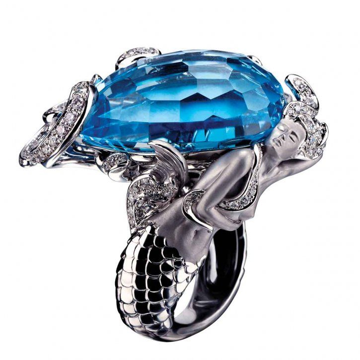 Diamond and Gemstone Mermaid Ring by Magerit.