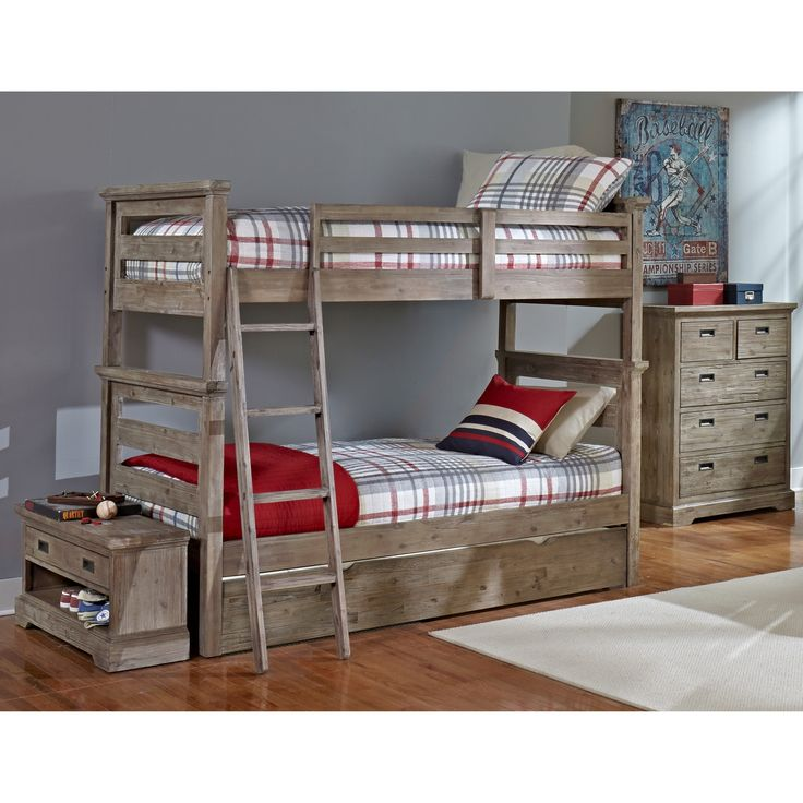NE Kids Hillsdale Oxford Oliver Twin Over Twin Bunk Bed with Trundle, Cocoa, Brown, Size twin/twin