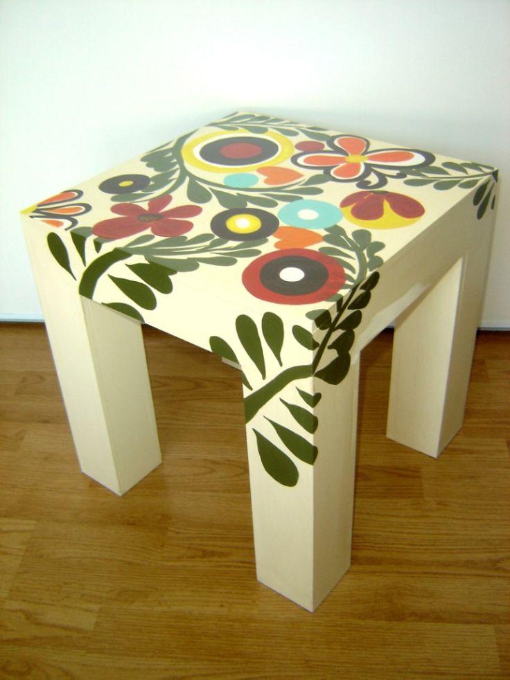 Flores muebles pintados pintar muebles de madera - Muebles decorados a mano ...