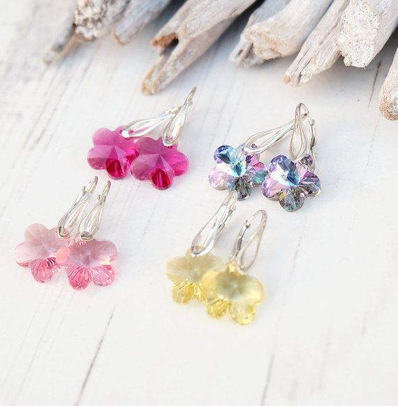 Small Sterling Silver Swarovski Crystal Earrings-Swarovski
