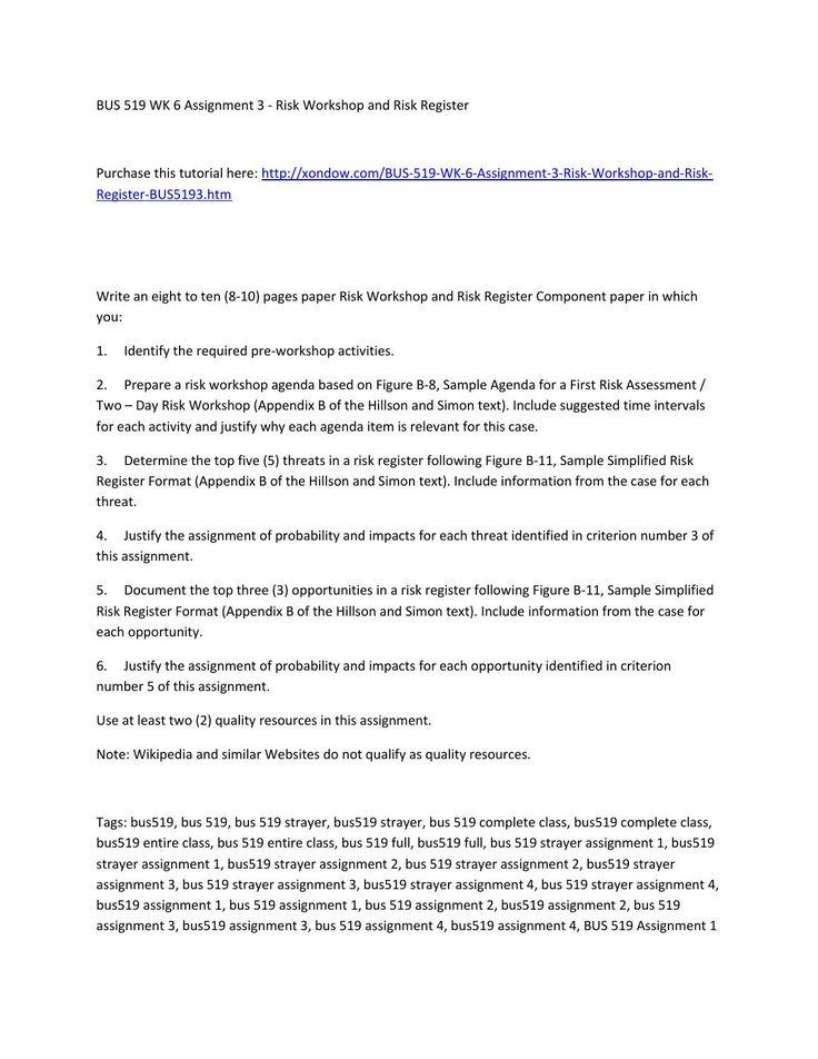 Bus 519 week 6 assignment 3 risk workshop and risk register - agenda sample format