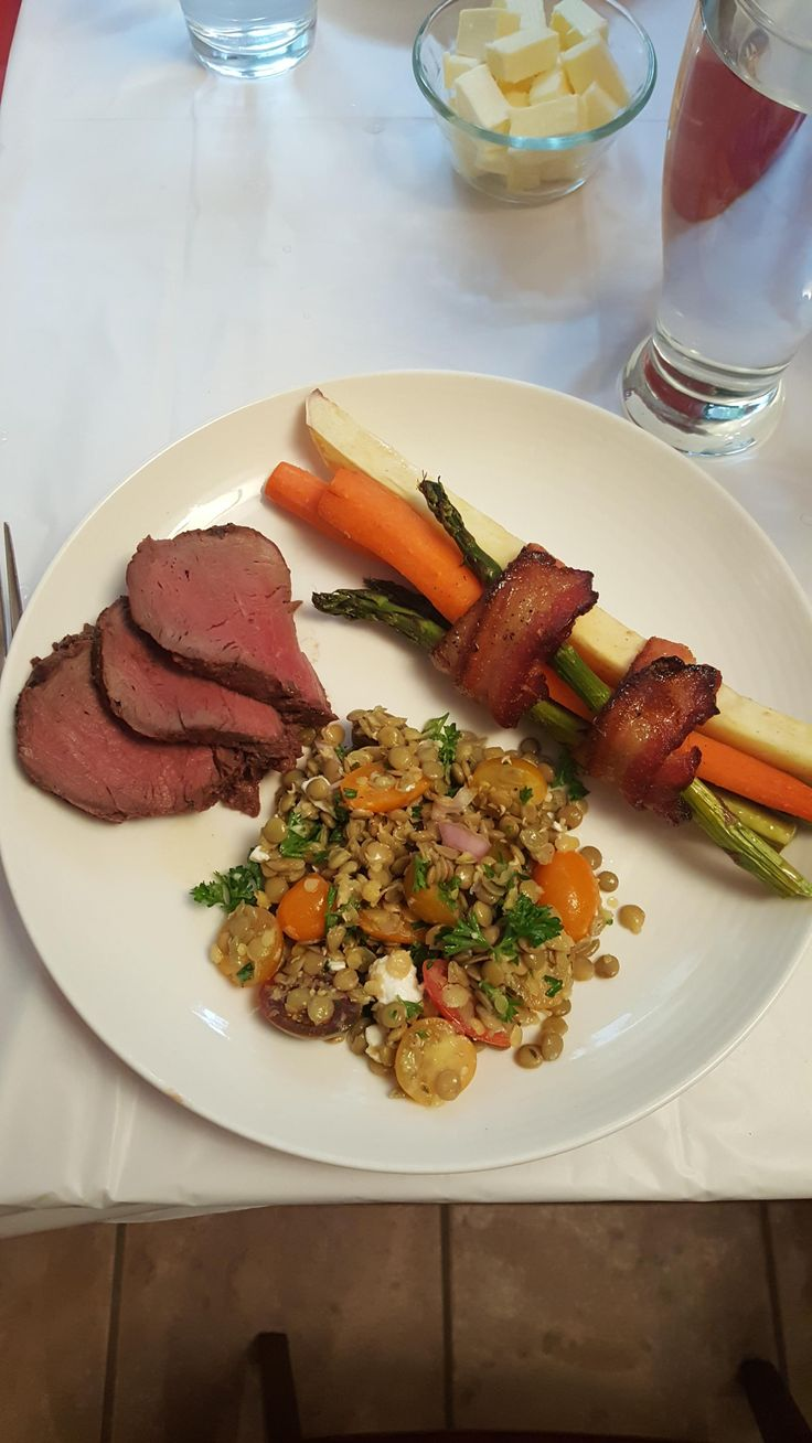 [Homemade] Bison tenderloin with maple glazed vegetables and lentil salad (for Canada Day).