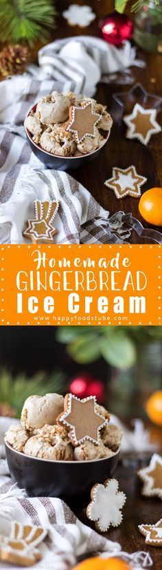 Planning on baking gingerbread cookies? Why not make gingerbread ice cream as well? It's a perfect Christmas treat with pieces of gingerbread cookies inside. Super easy recipe only 5 ingredients and ready in 15 minutes. #gingerbread #icecream #festive #holidays via @happyfoodstube