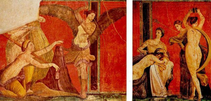 Фрески Виллы Мистерий, одной из помпейских вилл, наиболее сохранившихся при извержении Везувия в 79 г. Заказчики предпочитали красный, впоследствие получивший название «помпейский»