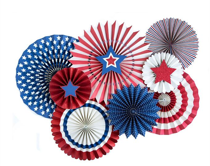 Labor Day Decorations, Patriotic Paper Fans, Labor Day Party, Red White Blue, Party Fans, 4th of July, Stars and Stripes, Military, Team USA