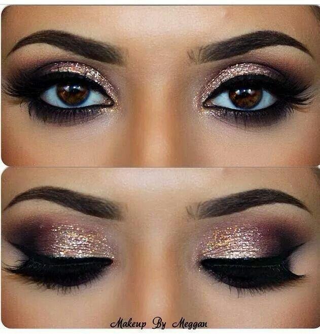Gold eyeshadow & winged eyeliner