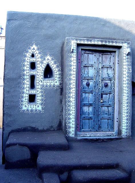 Porta e janelas em Mandawa, Rajastão, Índia.   - Cris Figueired♥