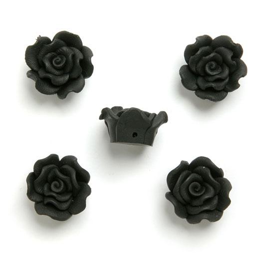 £2.30 Fimo flower rose bead black 20mm, Pk 5