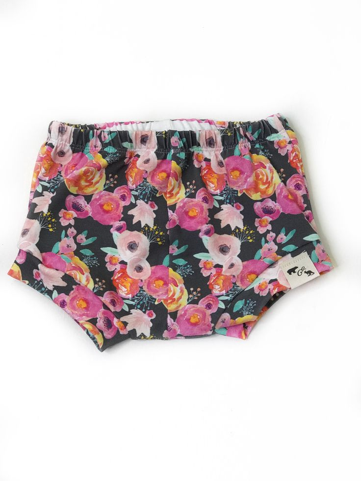 Coral Floral on Grey shorties/beach shorts