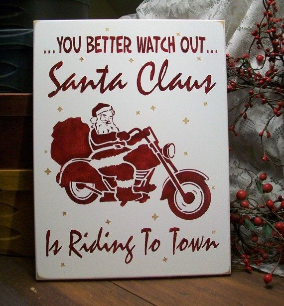 Santa Claus is Riding to Town Biker Christmas