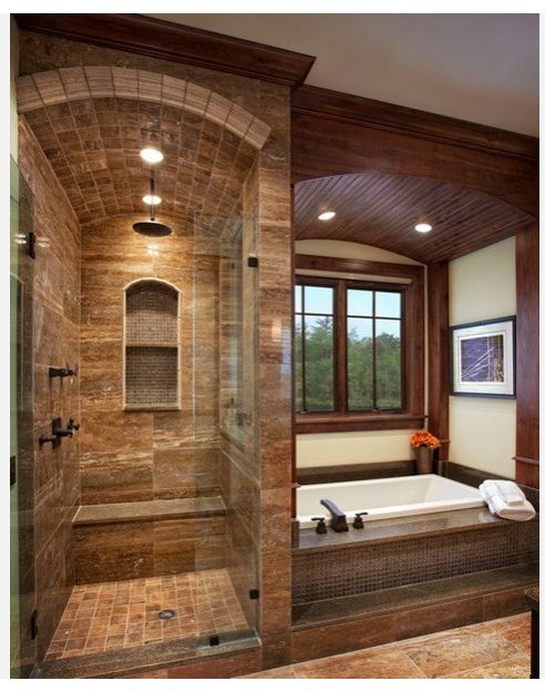 Master tub and clear shower
