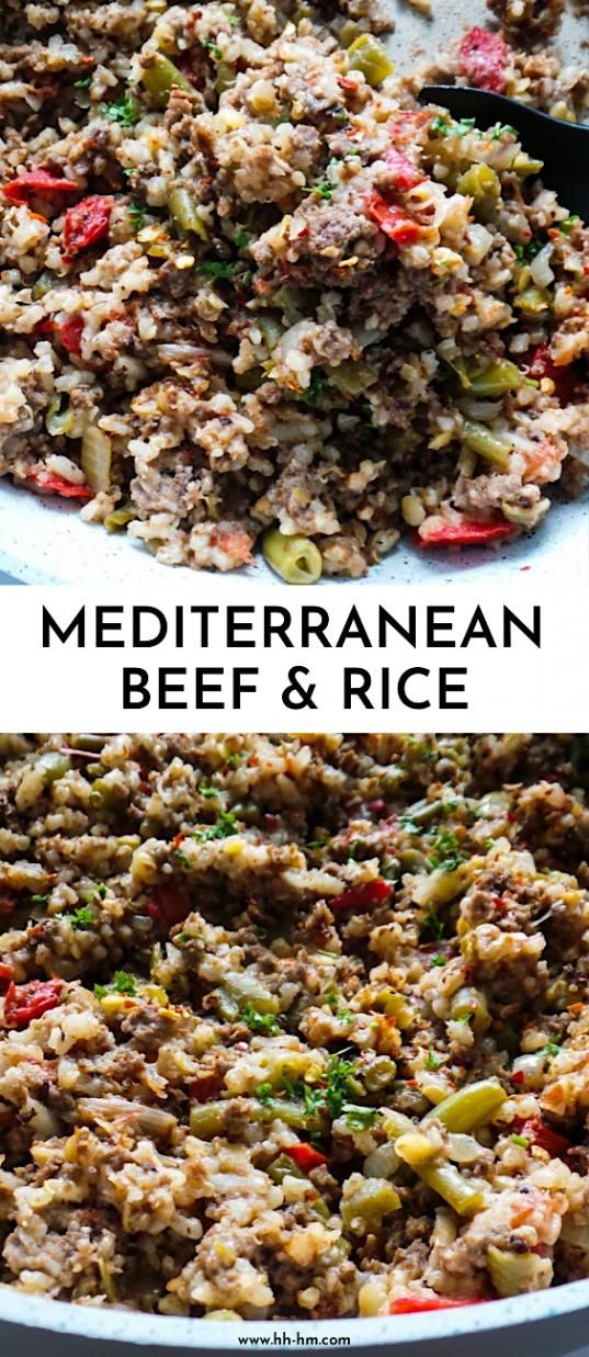 Mediterranean Beef And Rice This Is A Healthy Dinner Recipe With Ground Beef Vegetables And Rice That Is Gluten Free And Ready In 30 M