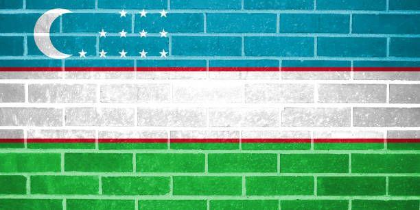 uzbekistan flag painted on brick wall
