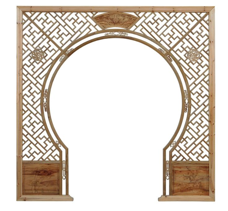 Chinese Light Natural Wood Around Arch Wood Room Divider cs2235S